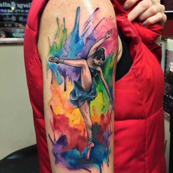 Esta colorida aquarela trabalho