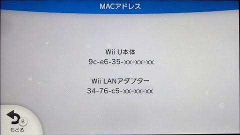 MACアドレスが表示される