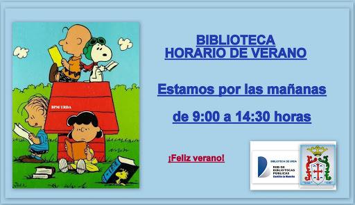 VERANO, HORARIO BIBLIOTECA. Feliz verano y muchas lecturas.