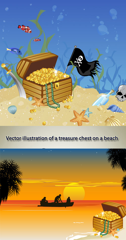 Stock: Vector illustration of a treasure chest on a beach