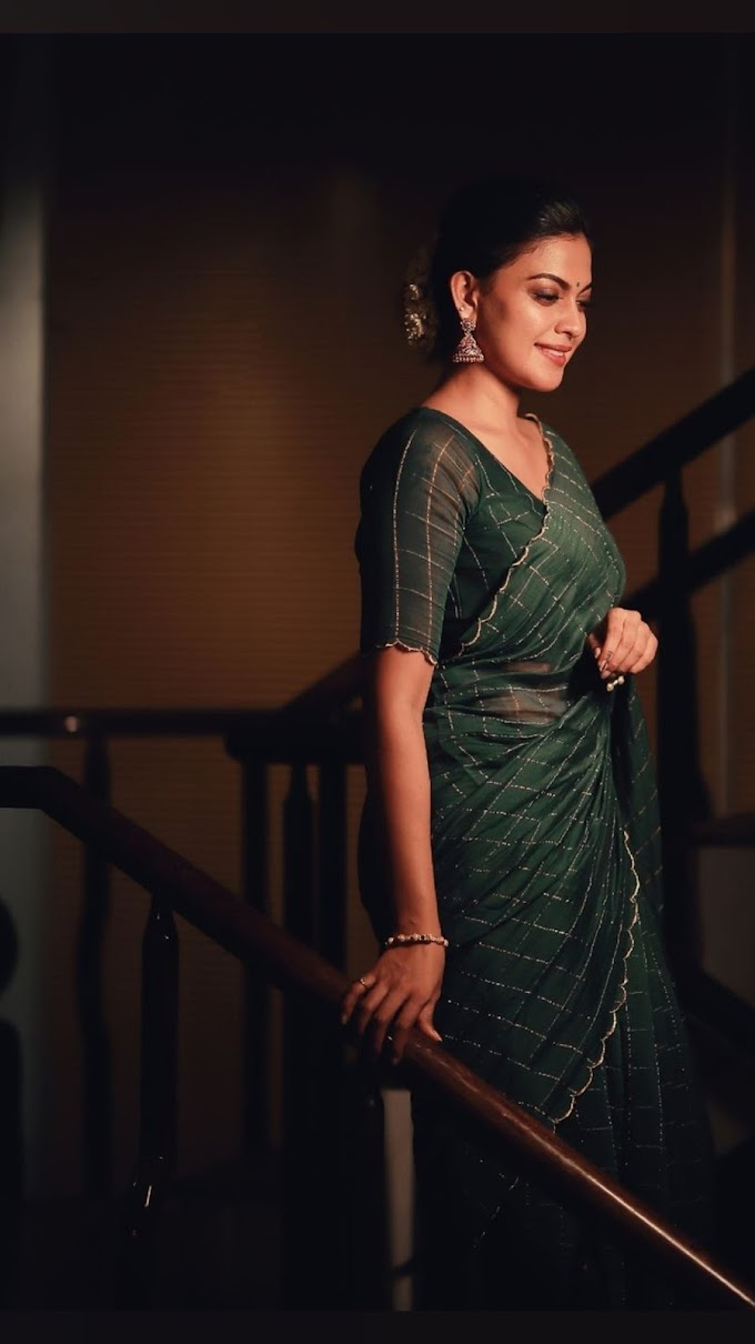 Anusree Dark Green Saree Stills Latest