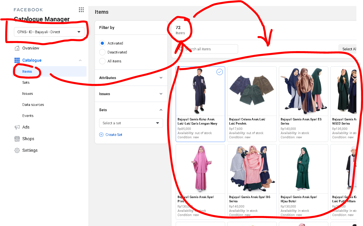 FB Catalogue Manager produk Shopee