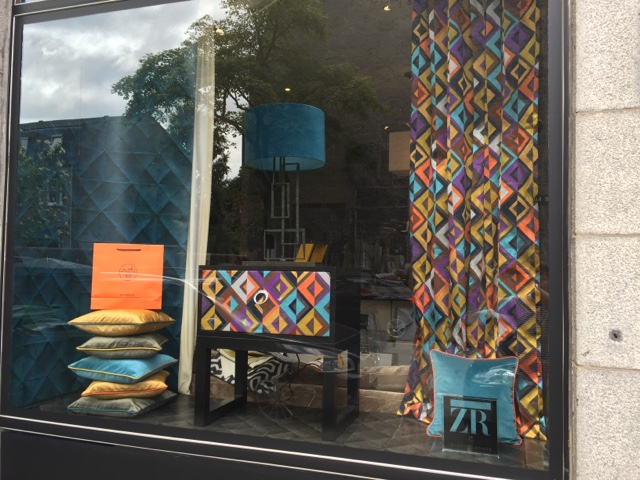 ... window display at Ambiance Interiors , Aberdeen. The display is  stunning and the bold, vibrant colours are enough to catch the eye of  anyone walking by!