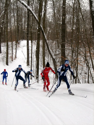 Boys Varsity skiers in classic race.