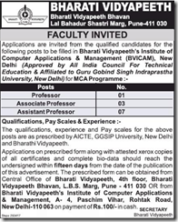 Bharati Vidyapeeth Faculty Advertisement 2017 www.indgovtjobs.in