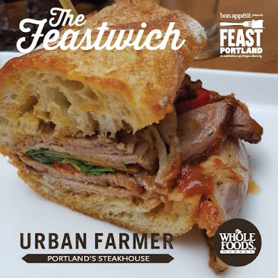 Chef Matt Christianson of Urban Farmer sandwich creation. He isn't participating in the Sandwich Invitational, but he has teamed up with Whole Foods to make a special Feast Urbanh Mi that is a Roast Pork Shoulder Banh Mi.
