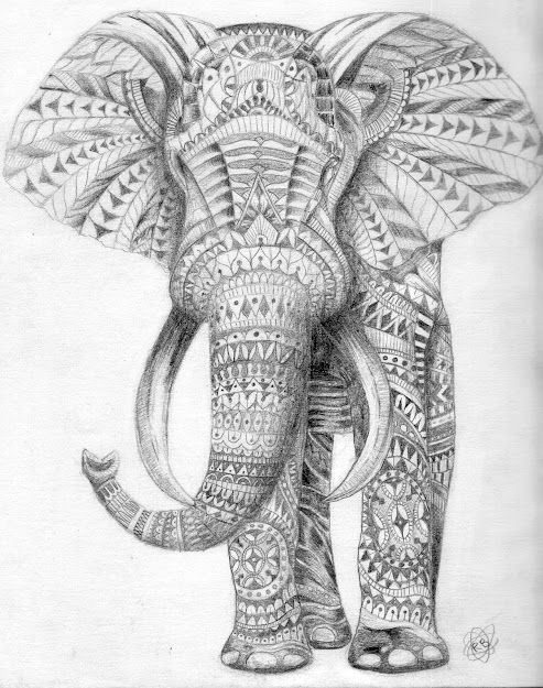 Adult Coloring Pages Elephant Tribal Elephant Coloring Pages