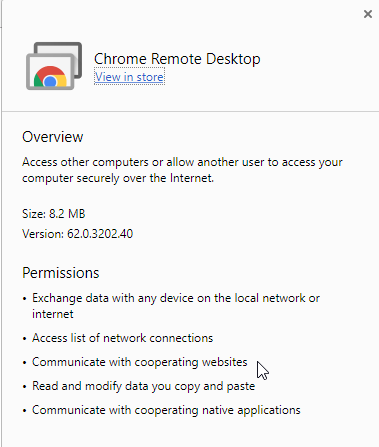 Chrome Remote Desktop new permissions - Google Chrome Help