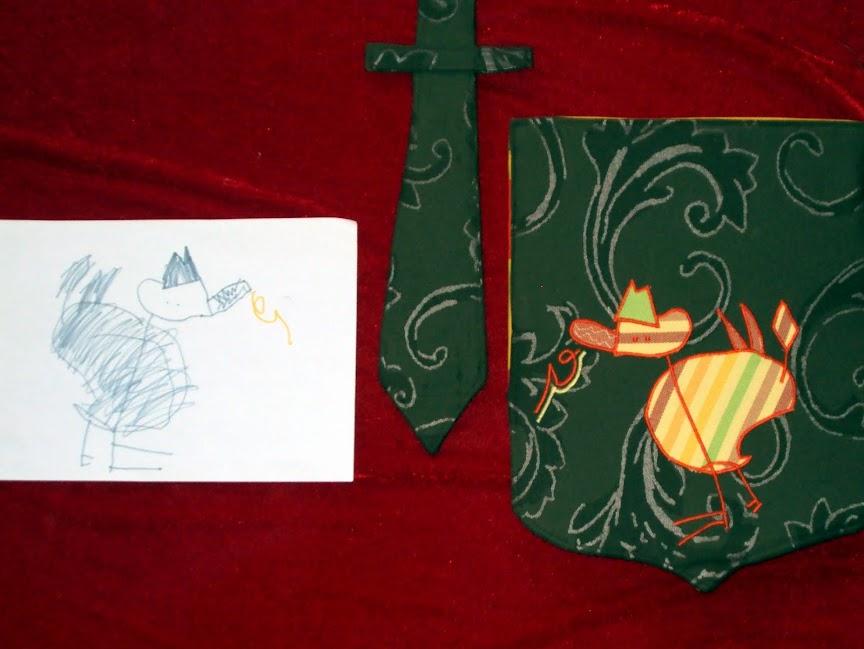 Draak, schild, zwaard