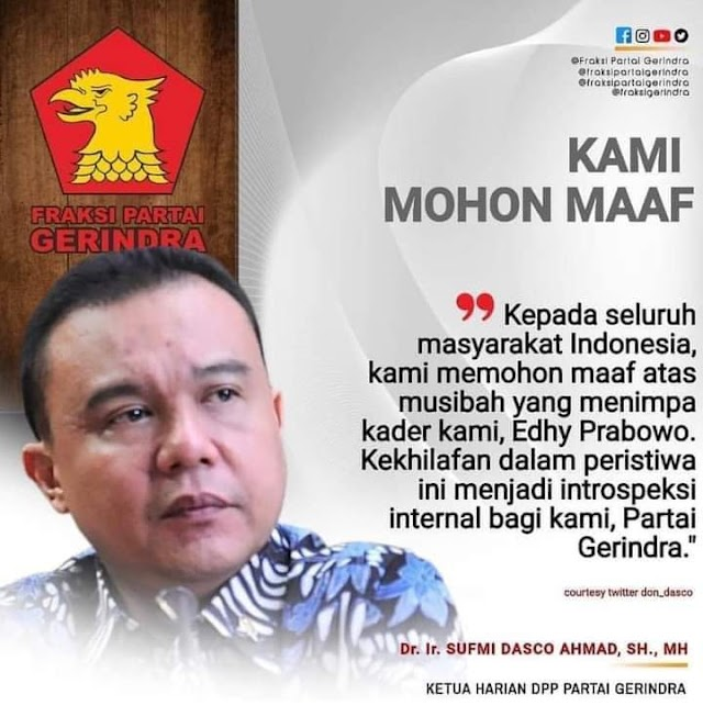 Partai Gerindra Memohon Maaf kepada Bangsa Indonesia terkait kadernya yang tertangkap KPK