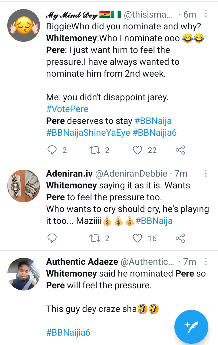 I nominated Pere for eviction because I wanted him to feel the pressure - Whitemoney