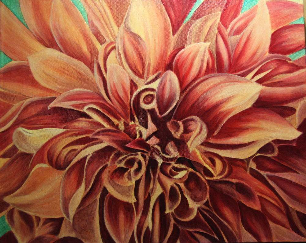 Dalia Flower Painting In Acrylic