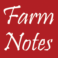 "Red Square with white words that read ""Farm Notes"""