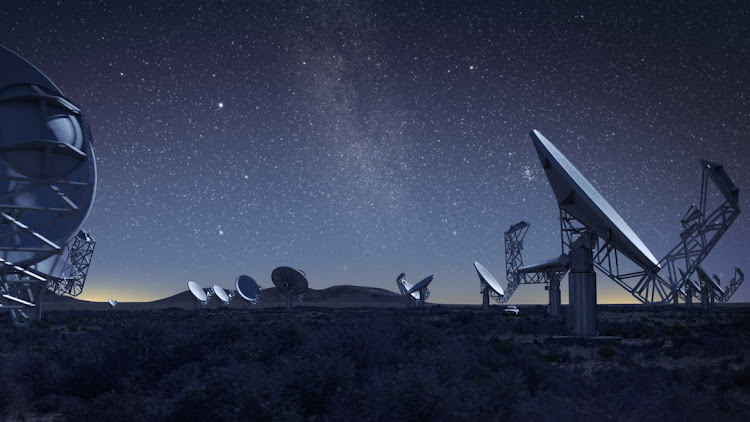 An artist's impression of the MeerKAT radio telescope in the Northern Cape.