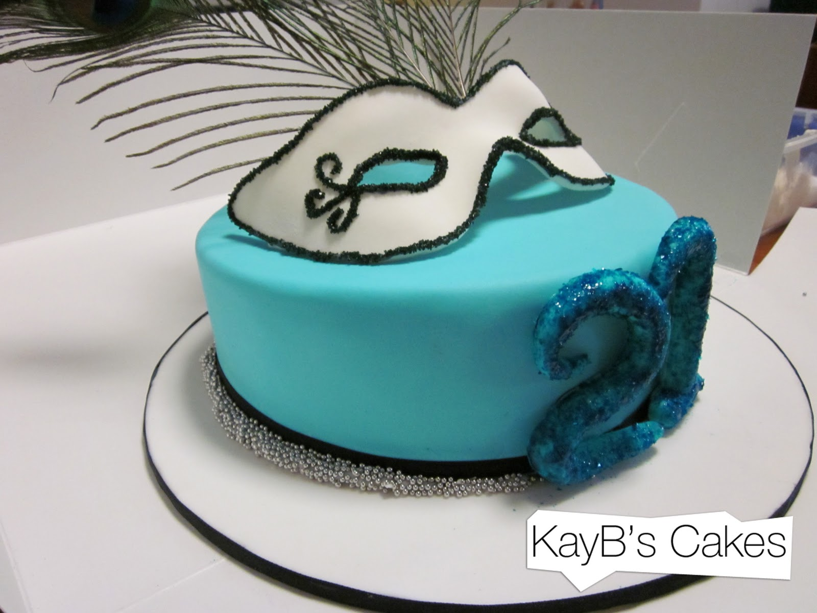 Kaybs Cakes Masquerade Cake And Pretty Peacock Feathers