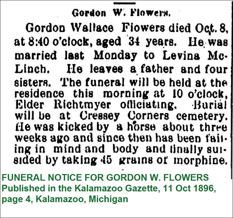 FLOWER_Gordon W_obit_KalamazooGazette_11 Oct 1896_Pg 4_KalamazooMichigan