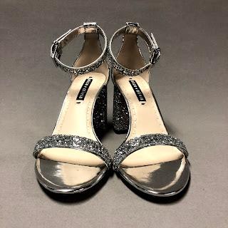 Alice & Olivia Lillian Glitter Block-Heel Sandals Silver