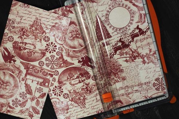 Cutting victorian scrapbook paper