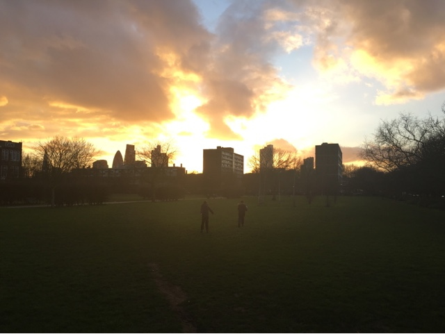 Sunset in weavers field park