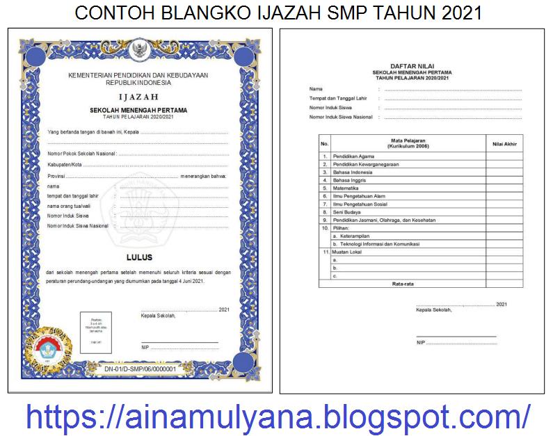 Contoh dan Juknis Pengisian atau Penulisan Blangko Ijazah SMP Tahun 2021
