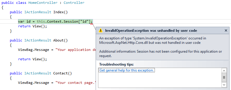 Error trying to use Session vars without installing or configuring the middleware