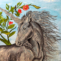 Grey morning unicorn with bird and Rose flowers
