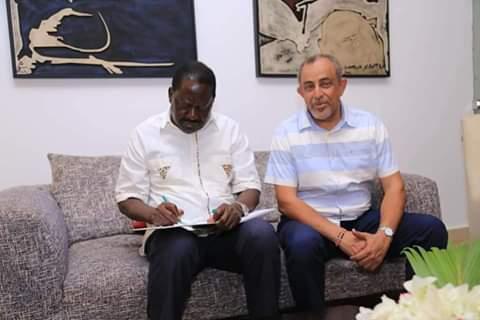 Suleiman Shahbal with Raila Odinga in Mombasa. PHOTOS | BMS
