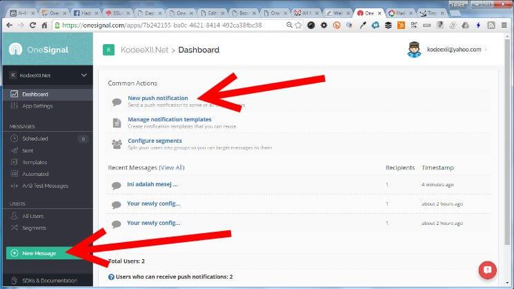Web Push Notification Onesignal Send Push