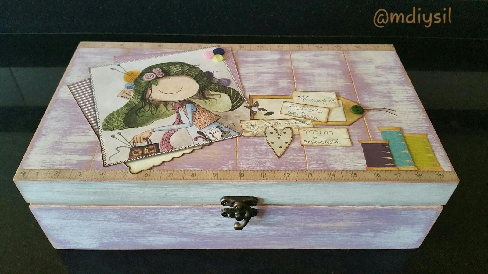 Manualidades diysil caja de madera decorada - Manualidades caja de madera ...
