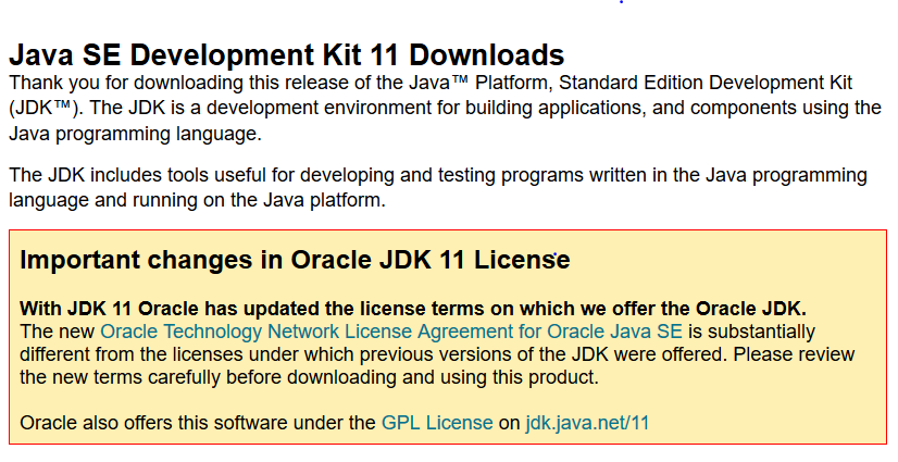 Oracle JDK 11 License