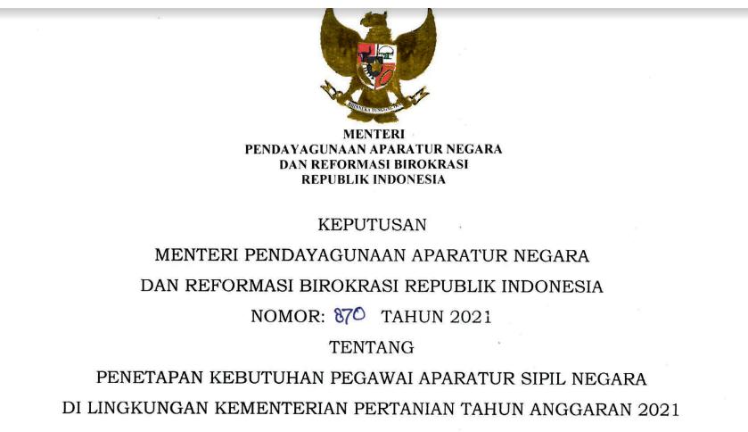 Rincian Formasi CPNS dan PPPK Kementerian Pertanian Tahun 2021