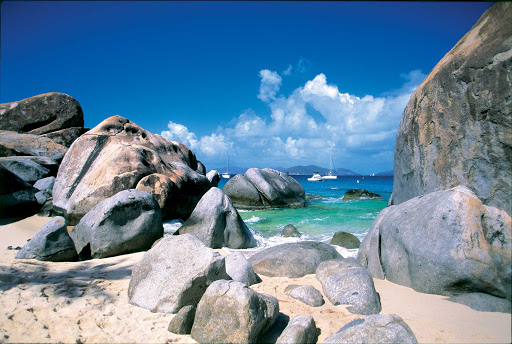 Baths-at-Virgin-Gorda-BVI - A boulder-lined beach at The Baths on Virgin Gorda in the British Virgin Isles.