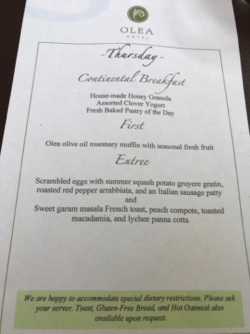 Olea Hotel Gourmet Breakfast Menu