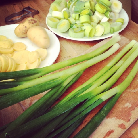 leek - spring onions - potatoes - vegetables for stew - creuset recipe