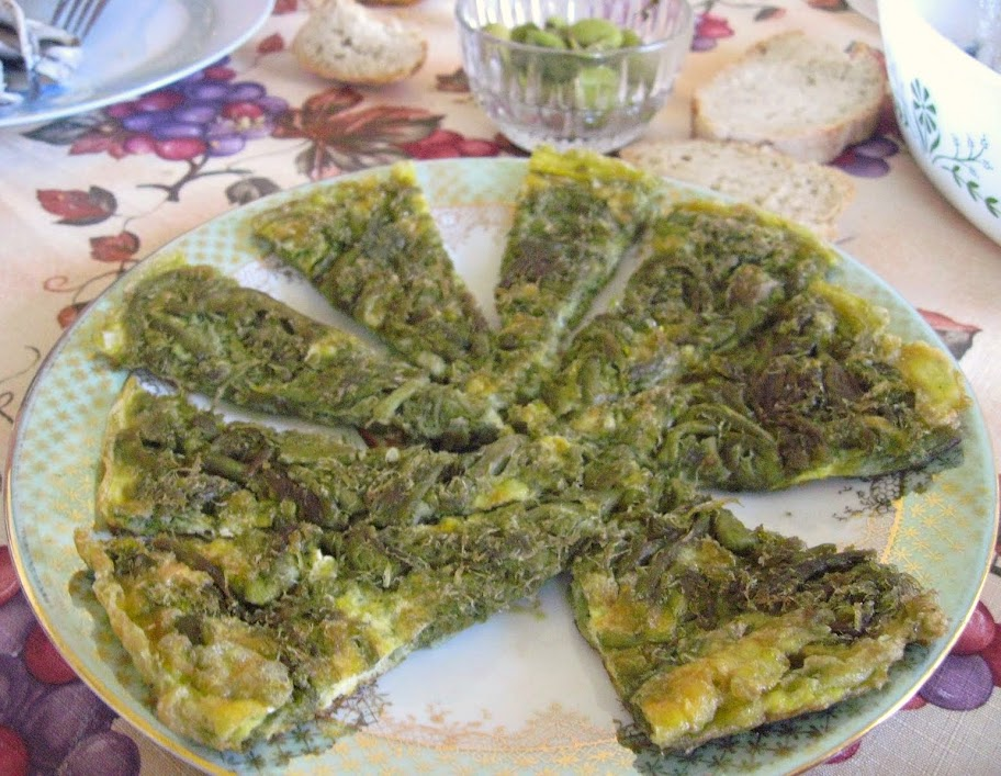 Easy Asparagus Frittata recipe - made with wild asparagus above but domestic asparagus works fine as well.