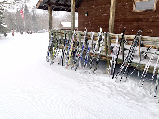 Fresh grooming awaiting Six Swedes skiers skis after Sunday's Smogasbord. Every lodging at Maplelag you can ski right from the door.