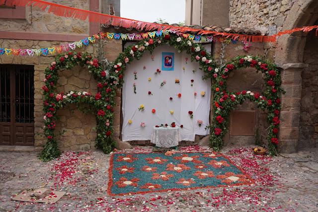 Varios arcos de ramaje y flores con una alfombra compuesta por hojas y pétalos
