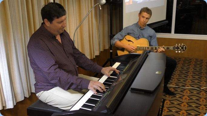 Our guest artsits, Mark Shiloh (formerly known as Vladimir Shilov) playing the Club's Clavinova CVP-509 and accompanied on electric guitar by Max Brown from Music Planet Takapuna. What a great combo and they had never played together before!