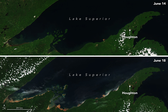 This pair of images shows the shoreline of Lake Superior before (14 June 2018) and after (18 June 2018) the torrential rain that hit Michigan on 17 June 2018. Splotches of tan, red, and orange along the lakeshore indicate where rivers and streams carried muddy floodwater out of neighborhoods. The sediment is dominated by iron–rich soil called spodosols. These images were acquired by the Moderate Resolution Imaging Spectroradiometer (MODIS) on NASA's Aqua satellite. Photo: Joshua Stevens / NASA