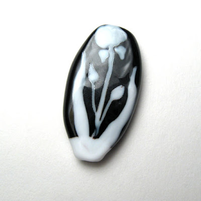 Black and White Garden Lampwork Focal by Serena Smith