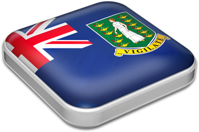 Flag of British Virgin Islands with metallic square frame
