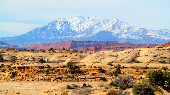 Mt. Hillers towering above the redrock west of Hite