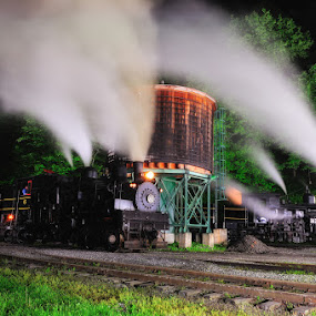Night Train  by Ernie Page - Transportation Trains ( cass rr. shay engines, west virginia, state park, west virginia state parks )