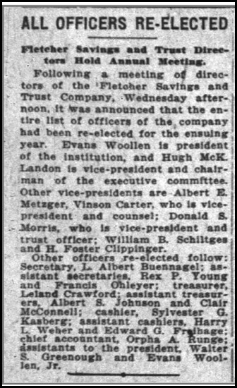 Harry L. Weber Re-elected Asst Cashier, 14 Jan 1926