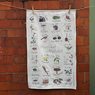 Woodland Alphabet Tea Towel by Alice Draws The Line.co.uk