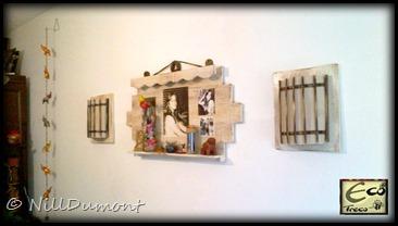 Painel com fotos e luminárias - 07