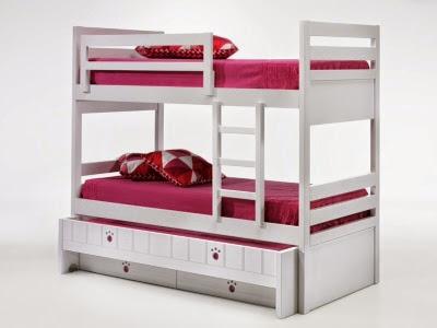 cama litera con 3 camas y cajones abajo