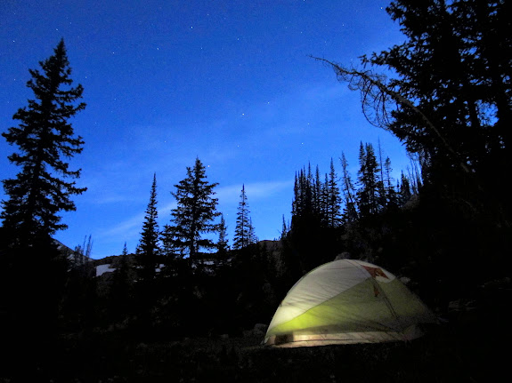 My tent in a meadow between Clyde Lake and Twin Lakes