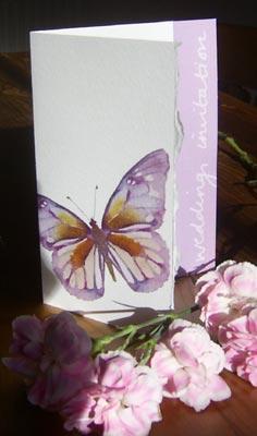 Invitación mariposa lila para boda