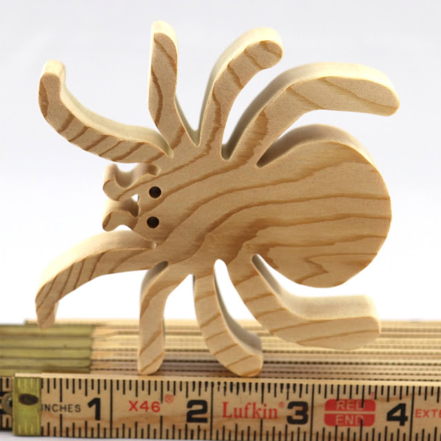 Handmade Wood Spider Toy Halloween Cutout